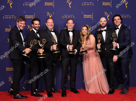 Stock Picture of Mark Duplass, Jay Duplass, Josh Braun, Dan Braun, Juliana Lembi, Chapman Way and Maclain Way - Outstanding Documentary or Nonfiction Series - Wild Wild Country