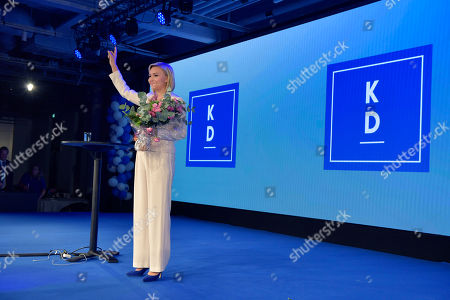 The Kristdemokraterna party leader Ebba Busch Thor speaks at the election party at the At Six hotel in central Stockholm, Sweden 09 September 2018.