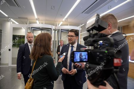 Sverigedemokraterna party leader Jimmie Akesson is interviewed outside the Expressen newspaper in Stockholm, Sweden 09 September 2018.