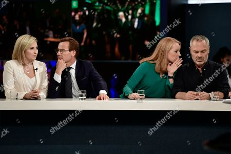 Alliansen party leaders (L-R)) Ebba Busch Thor (KD), Ulf Kristersson (M), Annie Loof (C) and Jan Bjorklund (L) are interviewed at the tv-channel Swedish Television in Stockholm, Sweden 09 September 2018.