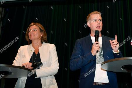 Spokespersons Isabella Lovin (L) and Gustav Fridolin at the Miljopartiet election wake at the Nalen restaurant in Stockholm, Sweden 09 September 2018.