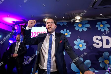 Sverigedemokraterna party leader Jimmie Akesson speaks at the election party at the Kristallen restaurant in central Stockholm, Sweden 09 September 2018.