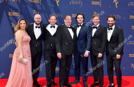 Juliana Lembi, Chapman Way, Dan Braun, Josh Braun, Maclain Way, Mark Duplass, Jay Duplass. Juliana Lembi, from left, Chapman Way, Dan Braun, Josh Braun, Maclain Way, Mark Duplass and Jay Duplass arrive at night two of the Television Academy's 2018 Creative Arts Emmy Awards at the Microsoft Theater, in Los Angeles
