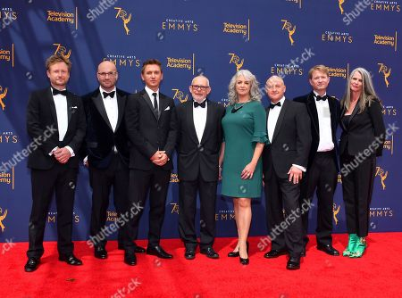Stock Photo of Ted Giffords, James Honeybourne, Roger Munns, Tim Owens, Katie Hall, Gavin Thurston, Mark Brownlow, Orla Doherty. Ted Giffords, from left, James Honeybourne, Roger Munns, Tim Owens, Katie Hall, Gavin Thurston, Mark Brownlow, and Orla Doherty arrive at night two of the Television Academy's 2018 Creative Arts Emmy Awards at the Microsoft Theater, in Los Angeles