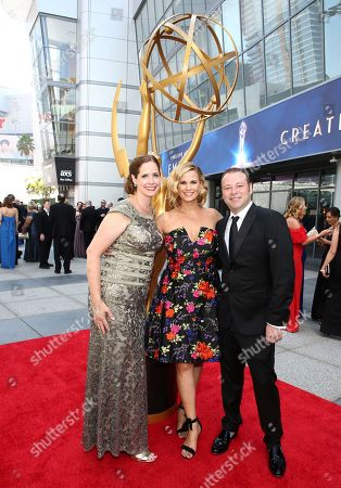 Alison Camillo, Allana Harkin, Pat King. Alison Camillo, from left, Allana Harkin and Pat King arrive at night two of the Television Academy's 2018 Creative Arts Emmy Awards at the Microsoft Theater, in Los Angeles