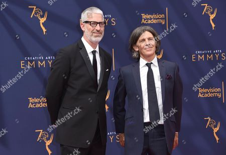 Mark Monroe, Adam Peters. Mark Monroe, left, and Adam Peters arrives at night two of the Creative Arts Emmy Awards at The Microsoft Theater, in Los Angeles