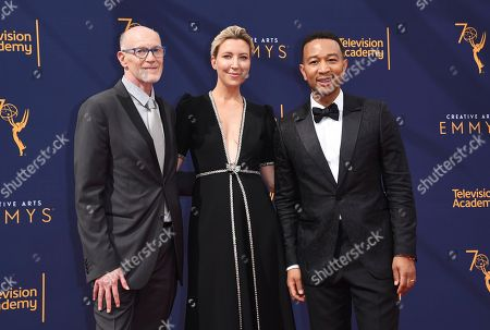 Neil Meron, Ty Stiklorius, John Legend. Neil Meron, from left, Ty Stiklorius and John Legend arrive at Night 2 of the Creative Arts Emmy Awards at The Microsoft Theater, in Los Angeles
