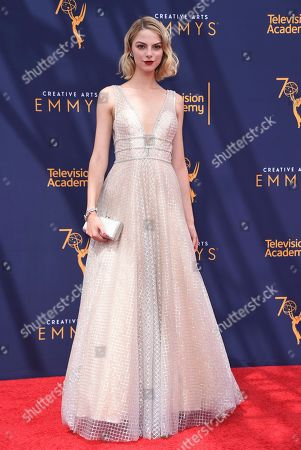 Allie Evans arrives at night two of the Creative Arts Emmy Awards at The Microsoft Theater, in Los Angeles