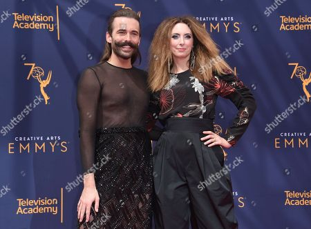 Jonathan Van Ness, Erin Gibson. Jonathan Van Ness, left, and Erin Gibson arrive at night two of the Creative Arts Emmy Awards at The Microsoft Theater, in Los Angeles