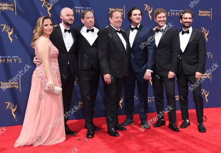 Juliana Lembi, left, Chapman Way, Josh Braun, Dan Braun, Maclain Way, Mark Duplass, Jay Duplass. Juliana Lembi, left, Chapman Way, Josh Braun, Dan Braun, Maclain Way, Mark Duplass, and Jay Duplass arrive at night two of the Creative Arts Emmy Awards at The Microsoft Theater, in Los Angeles