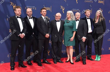 Ted Giffords, James Honeybourne, Roger Munns, Tim Owens, Katie Hall, Gavin Thurston, Mark Brownlow, Orla Doherty. Ted Giffords, from left, James Honeybourne, Roger Munns, Tim Owens, Katie Hall, Gavin Thurston, Mark Brownlow, and Orla Doherty arrive at night two of the Creative Arts Emmy Awards at The Microsoft Theater, in Los Angeles