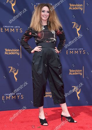 Erin Gibson arrives at night two of the Creative Arts Emmy Awards at The Microsoft Theater, in Los Angeles