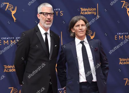 Mark Monroe, Adam Peters. Mark Monroe, left, and Adam Peters arrive at night two of the Creative Arts Emmy Awards at The Microsoft Theater, in Los Angeles