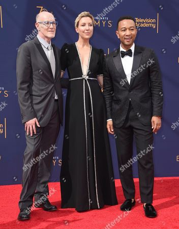 Neil Meron, Ty Stiklorius, John Legend. Neil Meron, from left, Ty Stiklorius and John Legend arrives at night two of the Creative Arts Emmy Awards at The Microsoft Theater, in Los Angeles