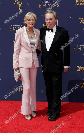 Madeleine Gurdon (L) and Andrew Lloyd Webber (R) arrive for the 2018 Creative Arts Emmy Awards at the Microsoft Theater in Los Angeles, California, USA, 09 September 2018. The Creative Arts Emmy Awards honor excellence in Television technical categories such as makeup, casting direction, costume design, editing and cinematography. The 70th Primetime Emmy Awards Ceremony will take place on 17 September 2018.