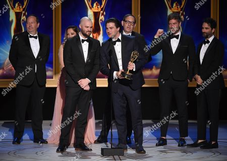 "Jay Duplass, Mark Duplass, Maclain Way, Dan Braun, Chapman Way, Josh Braun, Juliana Lembi. The team from ""Wild Wild Country"" accepts the award for outstanding documentary or nonfiction series during night two of the Television Academy's 2018 Creative Arts Emmy Awards at the Microsoft Theater, in Los Angeles"