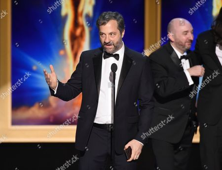 """Judd Apatow and the team from """"The Zen Diaries of Garry Shandling """" accept the award for outstanding documentary or nonfiction special during night two of the Television Academy's 2018 Creative Arts Emmy Awards at the Microsoft Theater, in Los Angeles"""