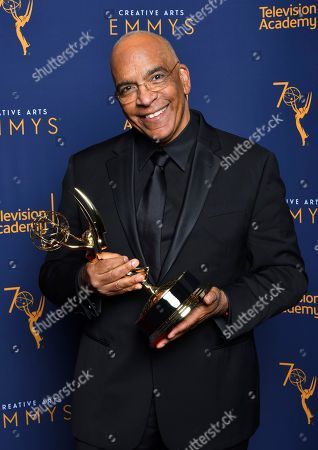 "Stan Lathan, winner of the the award for outstanding variety special (pre-recorded) for ""Dave Chappelle: Equanimity"" pose for a portrait during night two of the Television Academy's 2018 Creative Arts Emmy Awards at the Microsoft Theater, in Los Angeles"
