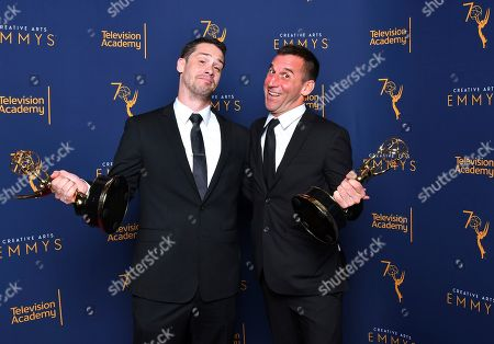 """Brian Bracken, Nick Bridgen. Brian Bracken, left, and Nick Bridgen winners of the award for outstanding sound editing for a nonfiction program (single or multi-camera) for """"Anthony Bourdain: Parts Unknown - Seattle"""" pose for a portrait during night two of the Television Academy's 2018 Creative Arts Emmy Awards at the Microsoft Theater, in Los Angeles"""