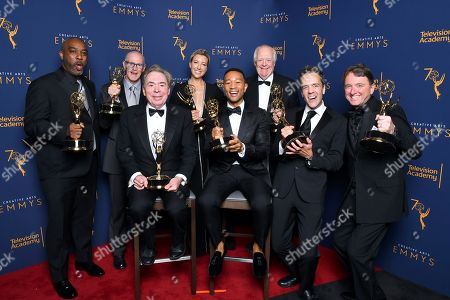 """Mike Jackson, Neil Meron, Andrew Lloyd Webber, Ty Stiklorius, John Legend, Tim Rice, Alex Rudzinski, Javier Winnik. Mike Jackson, from left, Neil Meron, Andrew Lloyd Webber, Ty Stiklorius, John Legend, Tim Rice, Alex Rudzinski, and Javier Winnik winners of the award for outstanding variety special for """"Jesus Christ Superstar Live in Concert"""" pose for a portrait during night two of the Television Academy's 2018 Creative Arts Emmy Awards at the Microsoft Theater, in Los Angeles"""