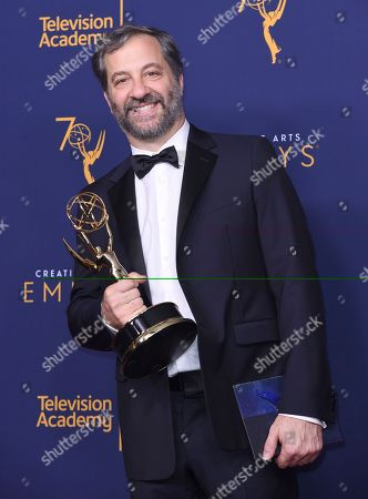 """Judd Apatow winner of the award for outstanding documentary or nonfiction special for """"The Zen Diaries of Garry Shandling"""" poses in the press room during night two of the Creative Arts Emmy Awards at The Microsoft Theater, in Los Angeles"""