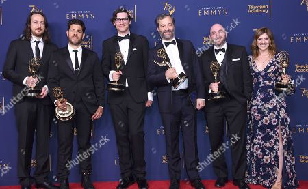 """Michael Bonfiglio, Joe Beshenkovsky, Sam Fishell, Judd Apatow, Josh Church, Amanda Glaze. Michael Bonfiglio, left, Joe Beshenkovsky, Sam Fishell, Judd Apatow, Josh Church, and Amanda Glaze winners of the award for outstanding documentary or nonfiction special for """"The Zen Diaries of Gary Shandling"""" pose in the press room during night two of the Creative Arts Emmy Awards at The Microsoft Theater, in Los Angeles"""