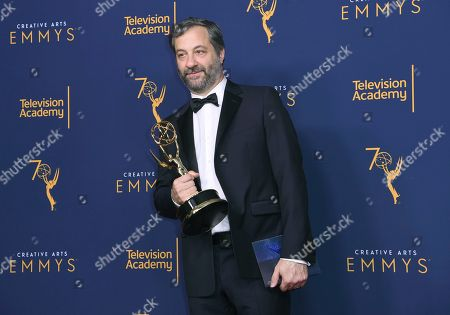"""Stock Photo of Judd Apatow winner of the award for outstanding documentary or nonfiction special for """"The Zen Diaries of Garry Shandling"""" poses in the press room during night two of the Creative Arts Emmy Awards at The Microsoft Theater, in Los Angeles"""