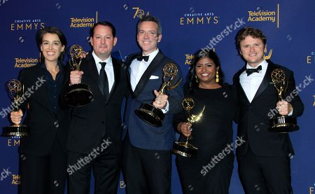 Producers from the show Anthony Bourdain: Explore Parts Unknown pose with the Emmy for Outstanding Short Form Nonfiction or Reality Series during the 2018 Creative Arts Emmy Awards at the Microsoft Theater in Los Angeles, California, USA, 09 September 2018. The Creative Arts Emmy Awards honor excellence in Television technical categories such as makeup, casting direction, costume design, editing and cinematography. The 70th Primetime Emmy Awards Ceremony will take place on 17 September 2018.