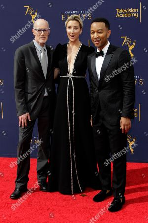 US producers Neil Meron (L), Ty Stiklorius (C) and US singer-songwriter John Legend (R) arrive for the 2018 Creative Arts Emmy Awards at the Microsoft Theater in Los Angeles, California, USA, 09 September 2018. The Creative Arts Emmy Awards honor excellence in Television technical categories such as makeup, casting direction, costume design, editing and cinematography. The 70th Primetime Emmy Awards Ceremony will take place on 17 September 2018.