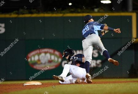 , 2018; Bowling Green Hot Rods left fielder Carl Chester (9) slides into second as West Michigan Whitecaps catcher Joey Morgan (28) tries to catch the ball during the sixth inning of the second round of the Mid West League Championship series between the W.Michigan Whitecaps and the Bowling Green Hot Rods in Bowling Green, KY at Bowling Green Ballpark. (Mandatory Photo Credit: Steve Roberts/CSM)
