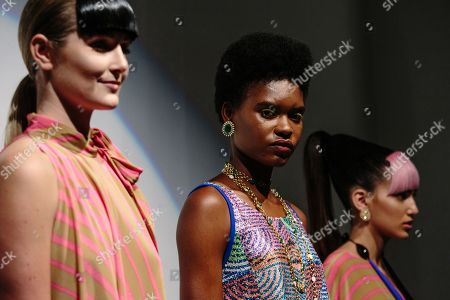 Stock Photo of Models exhibit creations by Cesar Galindo at New York Fashion Week Spring 2019 in New York, New York, USA, 09 September 2018.