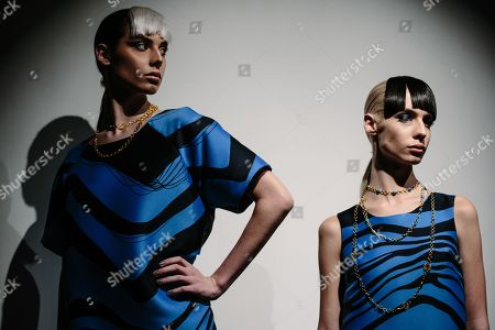 Stock Picture of Models exhibit creations by Cesar Galindo at New York Fashion Week Spring 2019 in New York, New York, USA, 09 September 2018.