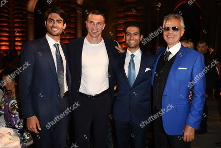 Stock Image of Matteo Bocelli, Wladimir Klitschko, Amos Bocelli and Andrea Bocelli