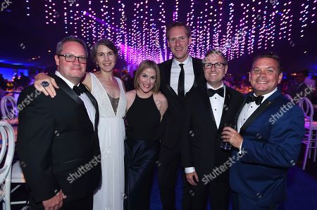 Stock Image of David Allen, Heather Cochran, Karla Kitchel, Kevin Kitchel, Maury McIntyre, Patrick Welborn. David Allen, Heather Cochran, Karla Kitchel, Kevin Kitchel, Maury McIntyre and Patrick Welborn attend the Governors Ball during night two of the Television Academy's 2018 Creative Arts Emmy Awards at the Microsoft Theater, in Los Angeles