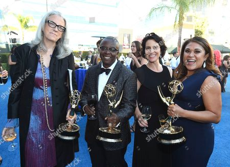 Stock Image of Joslyn Barnes, Yance Ford, Amanda Lichtenberg Rachelle Mendez. Joslyn Barnes, from left, Yance Ford, Amanda Lichtenberg, and Rachelle Mendez attend the Governors Ball during night two of the Television Academy's 2018 Creative Arts Emmy Awards at the Microsoft Theater, in Los Angeles