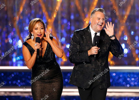 Carrie Ann Inaba, Ross Matthews. Carrie Ann Inaba and Ross Matthews host the Miss America pageant, in Atlantic City, N.J