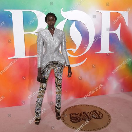 Anok Yai attends the BoF 500 Gala held at One Hotel Brooklyn Bridge during New York Fashion Week, in New York