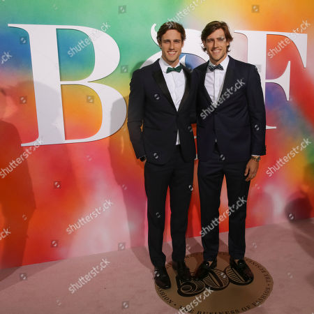 Stock Image of Jordan, Zac Stenmark. Jordan Stenmark, left, and Zac Stenmark attend the BoF 500 Gala held at One Hotel Brooklyn Bridge during New York Fashion Week, in New York