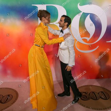 Gigi Hadid, Imran Amed. Model Gigi Hadid, left, and Founder & Editor-In-Chief, The Business of Fashion, Imran Amed attend the BoF 500 Gala held at One Hotel Brooklyn Bridge during New York Fashion Week, in New York