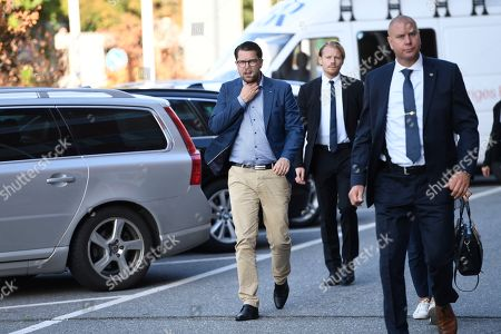 Sweden Democrats (SD, Sverigedemokraterna) party leader Jimmie Akesson (L) arrives to the TV-channel TV4, the morning after the general election in the country, in Stockholm, Sweden, 10 September 2018. The SD has won about 18 percent of the vote, media reported.