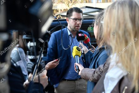 Sweden Democrats (SD, Sverigedemokraterna) party leader Jimmie Akesson (C) speaks to members of the media as he arrives to the TV-channel TV4, the morning after the general election in the country, in Stockholm, Sweden, 10 September 2018. The SD has won about 18 percent of the vote, media reported.