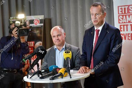 Swedish Minister for Justice and Home Affairs Morgan Johansson (L) and Social Democrat party group leader Anders Ygeman hold a press conference after a Swedish Social Democratic Party (SAP, Socialdemokraterna) executive committe meeting at the party headquarters in Stockholm, Sweden, 10 September 2018, a day after the country's general election.