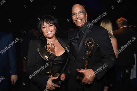 Rikki Hughes and Stan Lathan. Rikki Hughes, left, and Stan Lathan attend the Governors Ball during night two of the Television Academy's 2018 Creative Arts Emmy Awards at the Microsoft Theater, in Los Angeles
