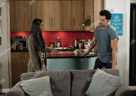 Stock Photo of Ep 9572 Friday 28th September 2018 - 1st Ep Alya Nazir, as played by Sair Khan, discovers from Sean that Josh Tucker, as played by Ryan Cartwright, is at Billy's flat and goes round to confront him.