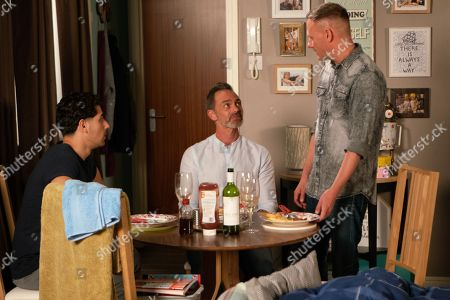 Ep 9571 Wednesday 26th September 2018 - 2nd Ep Unsuspecting Sean Tully, as played by Antony Cotton, welcomes Josh Tucker, as played by Ryan Cartwright, to the flat and even suggests he could be a good catch for Emma, as played by Uncomfortable Billy Mayhew, as played by Daniel Brocklebank, points out that he is probably not boyfriend material.