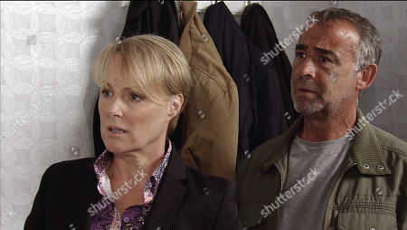 Ep 9564 Wednesday 19th September 2018 - 1st Ep Sally Metcalfe, as played by Sally Dynevor, is nervous for her pre trial hearing and goes looking for Sophie Webster, as played by Brooke Vincent, at No. 13 but walks in on her and Paula, as played by Stirling Gallacher, together.