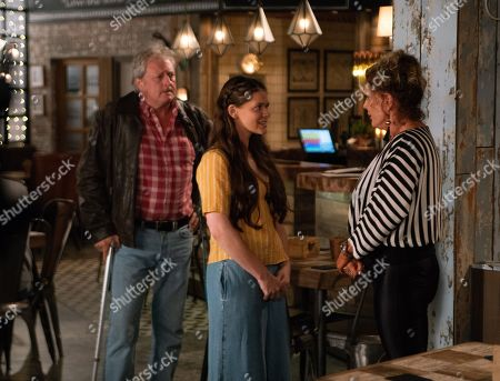 Ep 9558 Wednesday 12th September 2018 - 1st Ep Liz McDonald, as played by Beverley Callard, meets Jim McDonald, as played by Charles Lawson, and Hannah, as played by Hannah Ellis Ryan, for lunch. Liz is overcome with emotion, telling Hannah she's waited all her life for this day. They hug and agree to meet again.