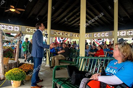 Independent candidate Greg Orman responds to questions from supporters during his stump speech at the Kansas State Fair