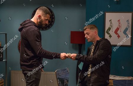 Ep 8263 Wednesday 19th September 2018 Ross Barton, as played by Michael Parr, is rattled as Gaz, as played by Jamie Dorrington, arrives with more drugs.