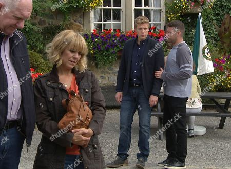 Ep 8257 Wednesday 12th September 2018 Robert Sugden, as played by Ryan Hawley, is incredulous to see the shrine in place that's been started for Rebecca and angrily trashes it. With Douglas Potts, as played by Duncan Preston ; Rhona Goskirk, as played by Zoe Henry ; Aaron Livesy, as played by Danny Miller.